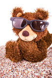 Brown teddy bear with sunglasses Stock Photography