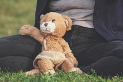 Brown Teddy Bear Toy Leaning on Person Royalty Free Stock Image