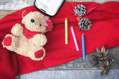 Brown teddy bear with toys for children. Stock Photos