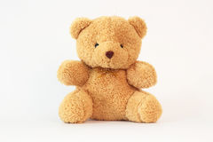 Brown teddy bear on a white background. Royalty Free Stock Photos