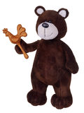 Brown teddy bear with wooden rattle Stock Image