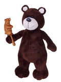 Brown teddy bear with wooden rattle Stock Photography