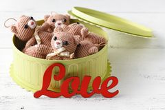 Brown teddy bears with red gift box on white Royalty Free Stock Image