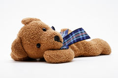 Brown teddybear. On a white background stock photo