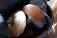 Brown-Teekanne für köstlichen Java Tea Stockfoto