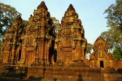 Brown temple. The brown light banteay srey is famous for Stock Photo