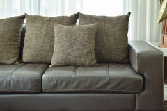 Brown texture pillows on deep brown leather sofa in living room stock photography