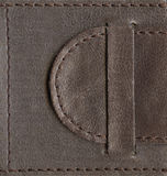 Brown textured leather lock. Belt stitched by thread over edges, high-resolution scan Stock Photography