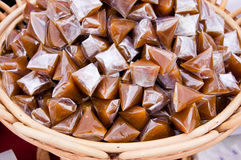 Brown thai sticky dessert Royalty Free Stock Image