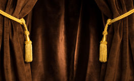 Brown theatre curtain Royalty Free Stock Images
