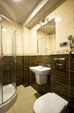 Brown theme bathroom royalty free stock photography