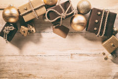 Brown themed Christmas border with gifts Royalty Free Stock Photography