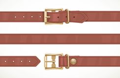 Brown thin leather belt buttoned, unbuttoned and seamless middle part Stock Images