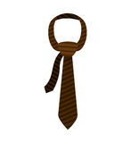 Brown tie with knot and striped. Vector illustration Royalty Free Stock Photos