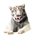 Brown tiger low polygon vector. Brown tiger sitting (low polygon vector Royalty Free Illustration