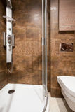 Brown tiles in bathroom interior Royalty Free Stock Image