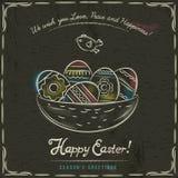 Brown tło z gniazdowy pełnym Easter jajka Obraz Stock