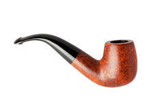 Brown tobacco pipe isolated Stock Image