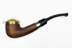 Brown tobacco pipe Stock Images