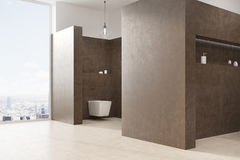 Brown toilet interior Stock Images