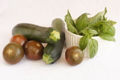 Brown tomatoes with basil, green chili paper and zucchini Stock Photos