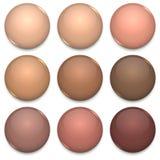 Brown Tone Color Glossy Blank Badges ilustração stock