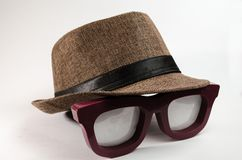 Brown tone hat over a large lenses. stock photo