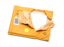 Brown torn envelope Stock Photos