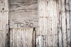 Brown Toro Painted Wooden Wall Royalty Free Stock Images