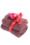 Brown towel beautifully added. Stock Photos