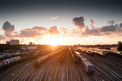 Brown Train during Sunrise Royalty Free Stock Photography