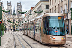Brown tram in Orleans Royalty Free Stock Images