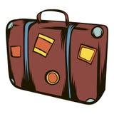 Brown travel suitcase icon cartoon Stock Photos