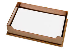 Brown tray with blank paper Stock Images