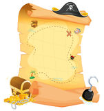 A brown treasure map. Illustration of a brown treasure map on a white background Stock Photos