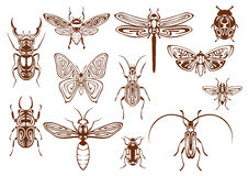Brown tribal insects for tattoo or mascot design Royalty Free Stock Images