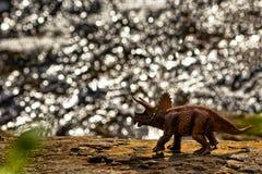 Brown Triceratops dinosaura odprowadzenie z wodą w tle obraz stock