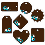 Brown,turquoise vector tags. Illustration of a set of brown tags decorated with turquoise elements.EPS file available Royalty Free Stock Photo