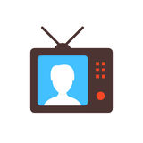 Brown tv icon with anchorwoman Royalty Free Stock Images