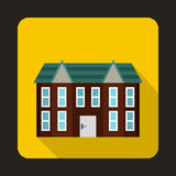 Brown two storey house icon, flat style. Brown two storey house icon in flat style on a yellow background Royalty Free Stock Photo