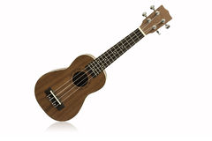 The brown ukulele, clipping path Royalty Free Stock Photo