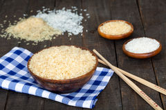 Brown uncooked rice Royalty Free Stock Photography