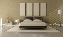 Brown und beige Schlafzimmer Lizenzfreie Stockfotografie