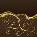 Brown- und Goldstrudelkaffee-Menüabdeckung Lizenzfreies Stockfoto