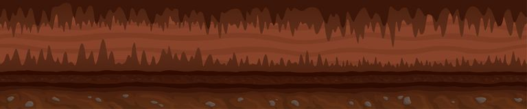 Brown unending landscape with mystic dark cave stock image