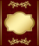 Brown vector card with gold decorations Stock Photography