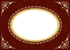 Brown vector card with oval and patter Royalty Free Stock Image