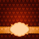Brown vector card. Vector seamless brown pattern, gold ribbon and frame Royalty Free Stock Images