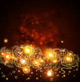 Brown vector Christmas background with a picture of a Christmas Royalty Free Stock Image