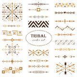 Brown vector tribal set of design elements. Brush set royalty free stock photography
